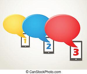 groep, beweeglijk, moderne, telefoon, toespraak, wolken, kleur