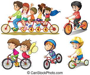 groep, biking, mensen