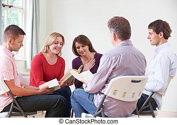 groep, boek, vergadering, lezende
