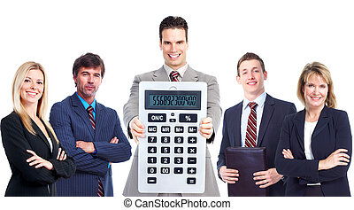 groep, calculator., zakenlui