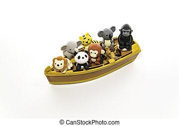 groep dieren, in, de, kleine boot