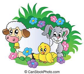 groep, dieren, lente