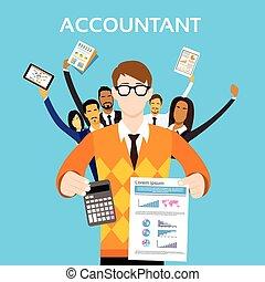 groep, financiën, mensen, rekenmachine, tonen, accountant, team