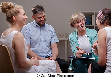 groep, gedurende, vergadering, met, therapist