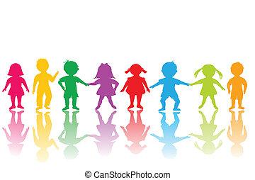 groep, gekleurde, kinderen