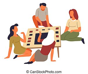 groep, gezin, amusement, vrije tijd, spel, tijdverdrijf, activiteit, tafel