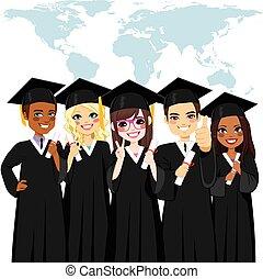 groep, globaal, verscheidenheid, afgestudeerd