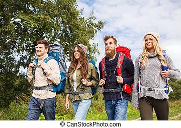 groep, het glimlachen, vrienden, rugzakken, wandelende