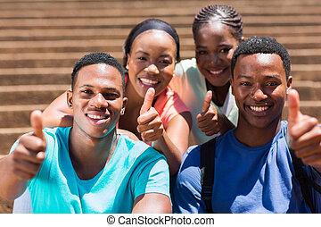 groep, het opgeven, duimen, afrikaan, vrienden