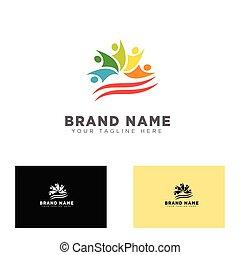 groep, illustratie, vector, ontwerp, gemeenschap, mal, logo