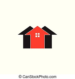 groep, inwoner, vector, thuis, logo, geometrisch