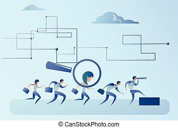 groep, kandidaat, zakenlui, werving, zoom, glas, persoon, pluk, vergroten