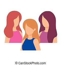 groep, karakters, vrouwen