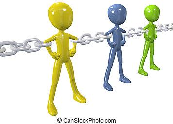 groep, ketting, mensen, verenigen, anders, schakel, sterke