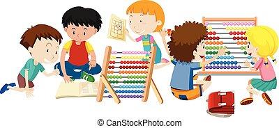 groep, kinderen, leren