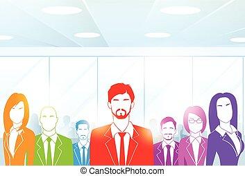 groep, kleurrijke, zakenlui, kantoor, vector