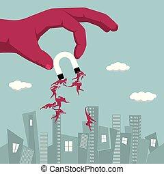 groep, magnet., hand houdend, businessmen., aantrekken