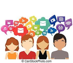 groep, media, toespraak, praatje, sociaal, bel
