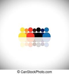 groep mensen, als, team, het tonen, teamwork, -, concept, vector, graphi
