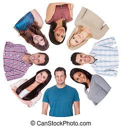 groep, mensen, anders, laag hoek overzicht