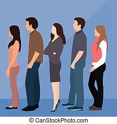 groep mensen, bemannen vrouw, rij, lijn, staand, wachten