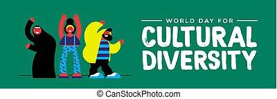 groep, mensen, cultureel, anders, verscheidenheid, spandoek