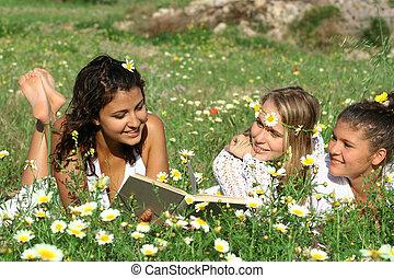 groep, mensen, gezonde , buitenshuis, lezende , vrolijke