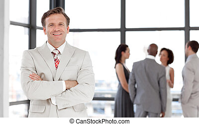 groep mensen, in, een, commerciële vergadering