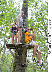 groep, mensen, jonge, bomen, cursus, avontuur