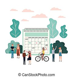 groep, mensen, karakter, avatar, kalender, herinnering