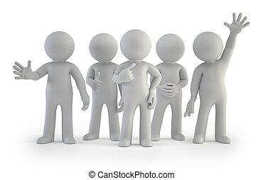 groep, mensen, -, kleine, best, 3d