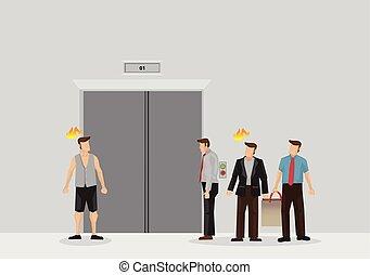 groep, mensen, lift, hal, wachten, vector, illustratie, ...