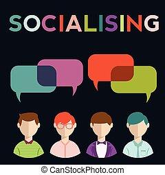groep, mensen, media, toespraak, sociaal, bellen