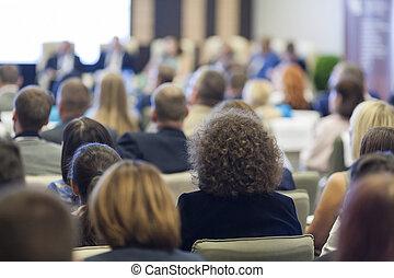 groep mensen, op, de, handelsconferentie, in, hall.