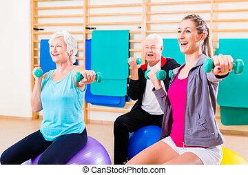 groep mensen, op, fysiotherapie