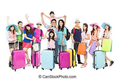 groep, mensen, reizen, samen, gereed, vrolijke