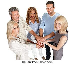 groep, mensen, stapelen, samen, hun, handen