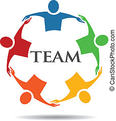 groep mensen, team, 6, het koesteren