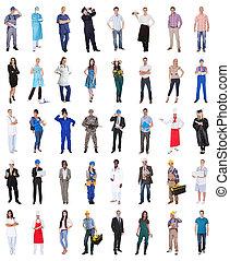 groep mensen, van, gevarieerd, beroepen