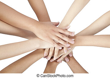 groep, mensen, vrijstaand, samen, handen, witte