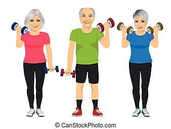groep, mensen, workout, het uitoefenen, senior, dumbbell
