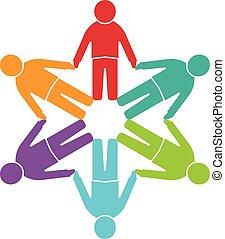 groep, mensen, zes, personen, cirkel, logo.