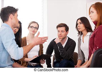 groep, mensen zittende, aandeel, problem., terwijl, anderen,...