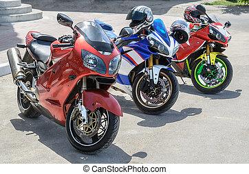 groep, motorfiets, parkeren