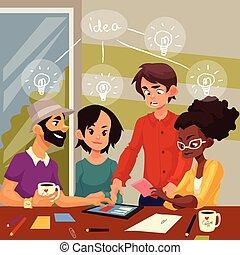 groep, multiethnic, werkkring mensen, jonge, ideeën, ...