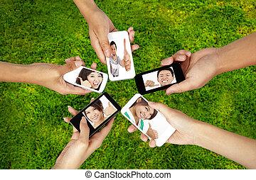 groep, netwerk, jonge, telefoon, sociaal, smart