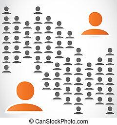groep, netwerk, mensen