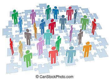 groep, netwerk, puzzelstukjes, verbinding, menselijke...