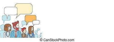 groep, netwerk, zakelijk, ruimte, communicatie, mensen pratend, sociaal, kopie, het bespreken