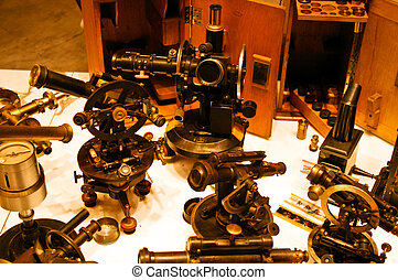 groep, oud, telescopen